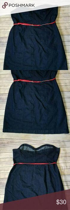 "Venezia Denim Dress Plus size Never worn  Beautiful stretchy denim dress. Material 76% cotton 23% polyester 1% spandex Length 38"" Waist 50"" Chest 54"" Venezia Dresses Strapless"