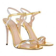 b2b721b6ec00be Gucci Nappa Silk Oro Vecchio ArgentoHigh-heel Sandal Gold Metallic size 39.5