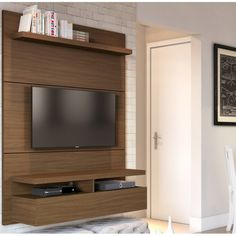 home theater planejado sala suspenso Boone Entertainment Center for TVs up to Modern Furniture Living Room, Wall Mounted Tv, Tv Decor, Entertainment Center, Shelves, Floating Entertainment Center, Tv Wall, Home, Furniture