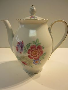 Vintage Floral Tea pot Coffee Pot with Gold by LaGaleriaDeDual, $39.99