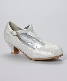 Look what I found on #zulily! Lucky Top Silver Glitter T-Strap Pump by Lucky Top #zulilyfinds
