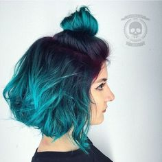 Black To Teal Ombre Bob With Purple Roots