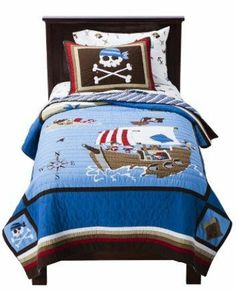 Pirate Ship & Crossbones Boys Full Quilt, Sheets & Shams Set (7 Piece Bedding) by Kids Bedding. $149.99. The set includes: 1- Full Size Quilt, 2- Pillowcases, 1- Flat Sheet, 1- Fitted Sheet & 2- Pillow Shams.. This is a great Full Size 100% Cotton Pirate Ship & Crossbones Quilt Set.  What little boy wouldn't love a quilt with Pirates & Crossbones on it.  The quilt shell is 100% Cotton with Cotton Fill.  The set includes: 1- Full Size Quilt, 2- Pillowcases, 1- Flat Sheet, 1- Fitt...