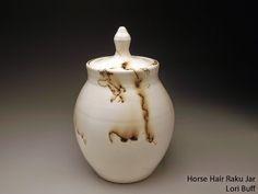 Horse Hair Raku Lidded Jar by Lori Buff