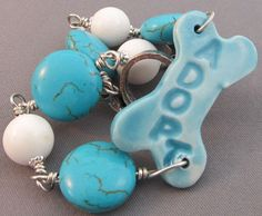 One of a Kind Adopt Dog Bone Bracelet Turquoise White Jewelry