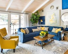Maria's home with a blue and yellow color palette