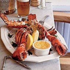 Surf-and-Turf for Two | Split Grilled Lobsters with Herb Butter | CoastalLiving.com