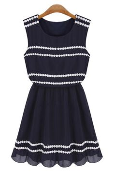 Lace Trim Chiffon Dress - OASAP.com