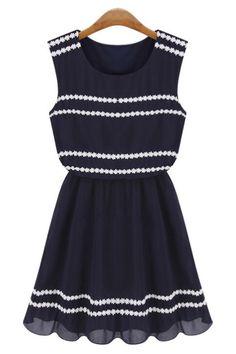 Lace Trim Chiffon Dress - OASAP.com