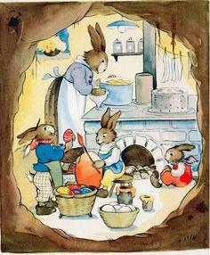 Darling Easter Card by Ilse Schmid Easter Illustration, Children's Book Illustration, Easter Bunny Pictures, Bunny Art, Bunny Bunny, Easter Art, Easter Eggs, Beatrix Potter, Vintage Easter