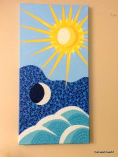"Sun Moon & Ocean Waves Acrylic Dot Painting 10"" x 20"" Canvas Art Hand Painted Abstract beach Pointillism aqua teal blue yellow FREE SHIPPING by CanvasCoveArt on Etsy"