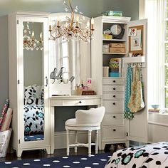 "$1,799.00 Hampton Vanity Tower & Super Set #potterybarnteenMaster your morning routine with this expertly crafted prepping stationVanity has a center drawer with built-in cubbies for makeup/jewelry 66"" wide x 18.5"" deep x 76"" high cubby shelf and four hooks for belts, bags and more. Inside each tower are six drawers+2 adjustable shelves."