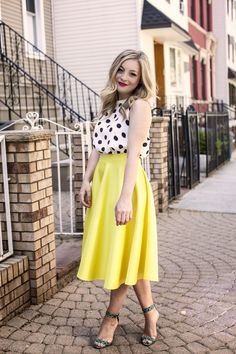 FOR STITCHFIX STYLIST/CONTEST: Love the bright yellow skirt paired with polka dots