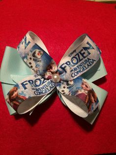 Frozen Hair Bow in spanish by HelgasHairBowDesigns on Etsy