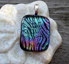 Aqua  Dichroic  Stripes. $25.00, via Etsy.