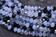 """Item#: 180 Chinese Crystal Mixed Rondelles, 8x5mm, B/W Mix, 8"""" Strand for $3.25 New Beads Discount: $2.60 - 10 Available https://www.facebook.com/groups/SamsBeadShop/ #beads #glass #crystals #artisan #beading #jewelrymaking #diyjewelry #diyjewelrymaking #jewelrydesign #handmade #diy #accessories #samsbeadshop"""