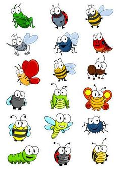 Cartooned insects set with bee wasp hornet caterpilllar grashopper ladybug Bug Cartoon, Cartoon Drawings, Easy Drawings, Animal Drawings, Drawing For Kids, Art For Kids, Drawing S, Happy Paintings, Bugs And Insects