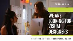'We are looking for visual designers.' A creative job vacancy video template. A background video of two employees working with each other.