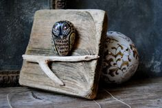 Owl Painted Rock on Driftwood: Painted River Pebble Owl Wall Hanging, Owl Painted Rock, Modern Rustic Decor
