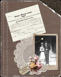 heritage scrapbook pages | Heritage Scrapbook Pages / Jim & Mary, page 1...beautiful vintage ...