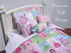 AMERICAN GIRL Doll Bedding 5 Pc Set for 18 by TreasuresDollShoppe, $26.00
