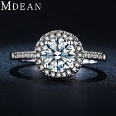MDEAN wedding rings for women vintage engagement rings bague white gold filled fashion accessories AAA CZ diamond jewelry MSR038