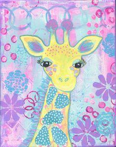 Giraffe Painting for Girls Room, Whimsical Original Art, 8x10 Canvas, Pink, Yellow, Light Blue on Etsy, $50.00