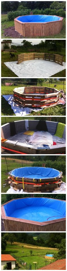 A beautiful swimming pool made out of 10 pallets diy project Diy Pallet Projects, Outdoor Projects, Home Projects, Outdoor Decor, Pallet Ideas, Ideias Diy, Pallet Creations, Making Out, Backyard