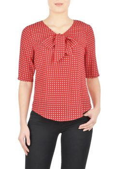 , Blouses For Work, bow tie tops, bow ties tops, coral tops, crepe tops, day-to-evening tops, Elbow length sleeve Tops, fall tops, feminine tops, Hip Length Tops, ladylike tops, Machine Wash Tops, mid-weight tops, polka dot tops, Polyester tops, Print Tops, Retro Tops, Shirttail hem tops, soft tops, Tops, V-neck Tops, woven crepe tops