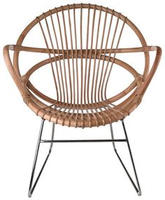 Singapore Armchair Rattan / Nickel feet by Pols Potten - Design furniture and decoration with Made in Design Comfy Armchair, Rattan Armchair, Rattan Chairs, Dining Chairs, Lounge Chairs, Chair Cushions, Armchairs, Brown Furniture, Rattan Furniture