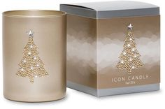 Chandelier Vintage Icon Candle by Primal Elements. A delicate blend of vanilla, caramel and cotton candy. Each hand poured, vegetable wax blend candle features a romantic image crafted with metal studs upon an antique gold metallic glass. Buy Chandelier, Vintage Chandelier, Christmas Candle Holders, Christmas Candles, Christmas Tree, Scented Candles, Candle Jars, Primal Elements, Tree Icon