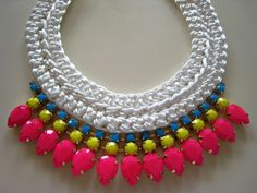 Handmade statement, knitted necklace with neon crystals!! by GlowFashionJewellery  #statement necklace #handmade statement necklace #glowfashionjewellery #fashion jewellery #fashion jewels #handmade jewellery #fashion items https://www.etsy.com/shop/GlowFashionJewellery https://www.facebook.com/glowfashion.gr