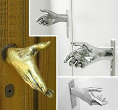 Handshake doorknobs- creepy cool.  Would freak me out on a scary house at halloween.