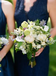 Chic Coastal Wedding in Maryland, Bridesmaids' Pastel Bouquets with Peonies, Viburnum, and Garden Roses | Brides.com