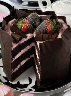 Strawberry  Chocolate Moose Cake