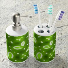 """""""Night Watch"""" #fireflies toothbrush holder and #soap dispenser set by SPKCreative Stationery and Gifts http://www.zazzle.com/spkcreative/gifts?cg=196654346730764908&GroupProducts=False&pg=1&sd=desc&st=date_created #green #neongreen #greendecor #greenbathroom #firefly #girls #boys #kids"""