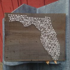 Florida State String Art - Can Be Customized - Nail Art - Wall Art - Home Decor - Disney - Vacation - Wooden - Handmade - Handcrafted