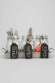 cute mason jar utensil holder
