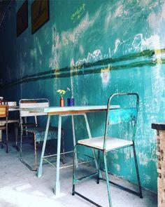 Little Flinders Cafe in Canggu Bali ~ turquoise interior. Bohemian.  Photo Cat Yde
