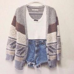 Crop top, high waisted shorts, and cardigan! I like this but only if the shirt and shorts were longer.