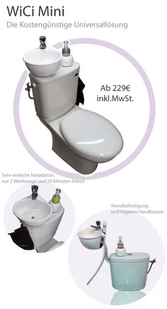 WiCi Mini : a compact solution for a toilet with a wash basin Modern Bathroom Sink, Compact Bathroom, Tiny Bathrooms, Upstairs Bathrooms, Bathroom Toilets, Bathroom Styling, Bathroom Sets, Small Bathroom, Toilet Sink