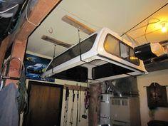 Harken Camper Shell Hoist Truck Bed Storage, Camper Storage, Diy Camper, Garage Storage, Tool Storage, Pickup Toppers, Truck Toppers, Truck Shells, Truck Camper Shells