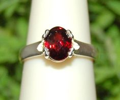 Rich Red Sparkling Checkerboard Garnet Ring by WindstoneDesigns, $39.95