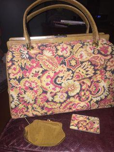 VINTAGE NEEDLEPOINT TAPESTRY & Faux Leather HANDBAG PURSE Floral #Satchel