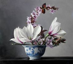 Recently Sold - Still Life Art - Magnolia and Apple Blossem by Pieter Wagemans Oil Painting Flowers, Still Life Art, Arte Floral, Floral Wall, Ikebana, Botanical Prints, Painting Inspiration, Flower Art, Floral Arrangements