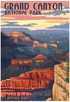 Grand Canyon National Park, Arizona - Mather Point Art Print, Wall Decor Travel Poster) Standard print, ready for framing Printed in the USA on heavy stock paper using a high-end digital printing press Arches Nationalpark, Yellowstone Nationalpark, Couple Travel, Photo Vintage, Vintage Ski, Vintage Style, Kunst Poster, Park Art, Vintage Travel Posters