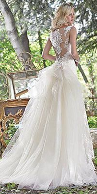 Maggie Sottero - JOVI, Embroidered lace appliqués adorn this stunning sheath wedding dress, with a breathtaking illusion lace back. Finished with illusion sweetheart neckline and pearl buttons over zipper closure. Maggie Sottero Wedding Dresses, Lace Wedding Dress, 2016 Wedding Dresses, Perfect Wedding Dress, Designer Wedding Dresses, Bridal Dresses, Wedding Gowns, Bridesmaid Dresses, Dresses 2016