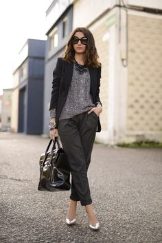 blazer with sweater, cropped pants, heels, statement necklace
