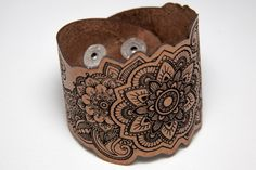 Mandala leather bracelet. Laser engraved mandala design by RockBodyLeather $30