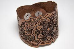Mandala leather cuff by RockBodyLeather $30